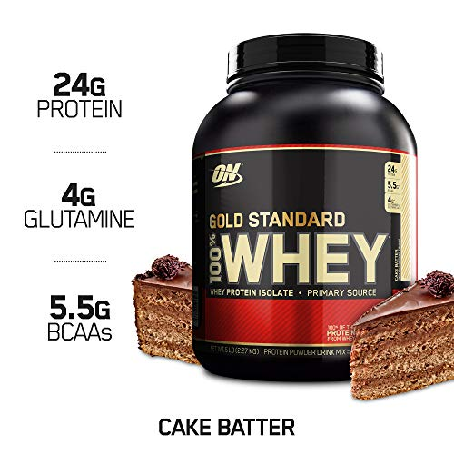 OPTIMUM NUTRITION GOLD STANDARD 100% Whey Protein Powder, Cake Batter, 5 Pound