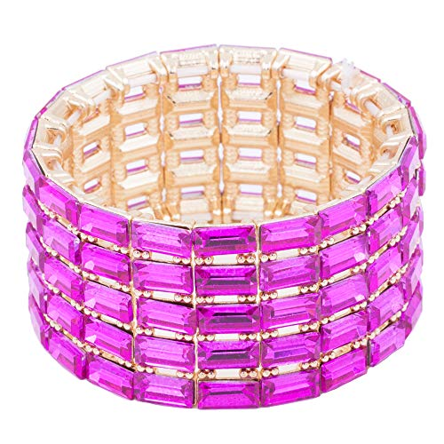 Lavencious 5 Lines Rectangle Stones Stretch Bracelets Bridal Evening Party Jewelry for Woman Bangle (Fuchsia Stones Gold Plated)