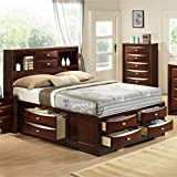 Roundhill Furniture Emily 111 Wood Storage Bed Group with King Bed, Dresser, Mirror and 2 Night Stands, Merlot