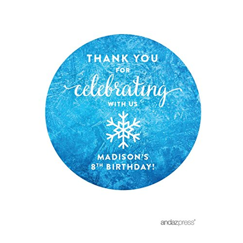 Andaz Press Personalized Birthday Round Circle Labels Stickers, Thank You for Celebrating With Us, Frozen Snowflake, 40-Pack, For Gifts and Party Favors, Custom -