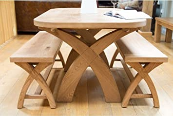 Prime Country Oak 140Cm Cross Leg Dining Table And 2 Matching Oak Benches Dailytribune Chair Design For Home Dailytribuneorg