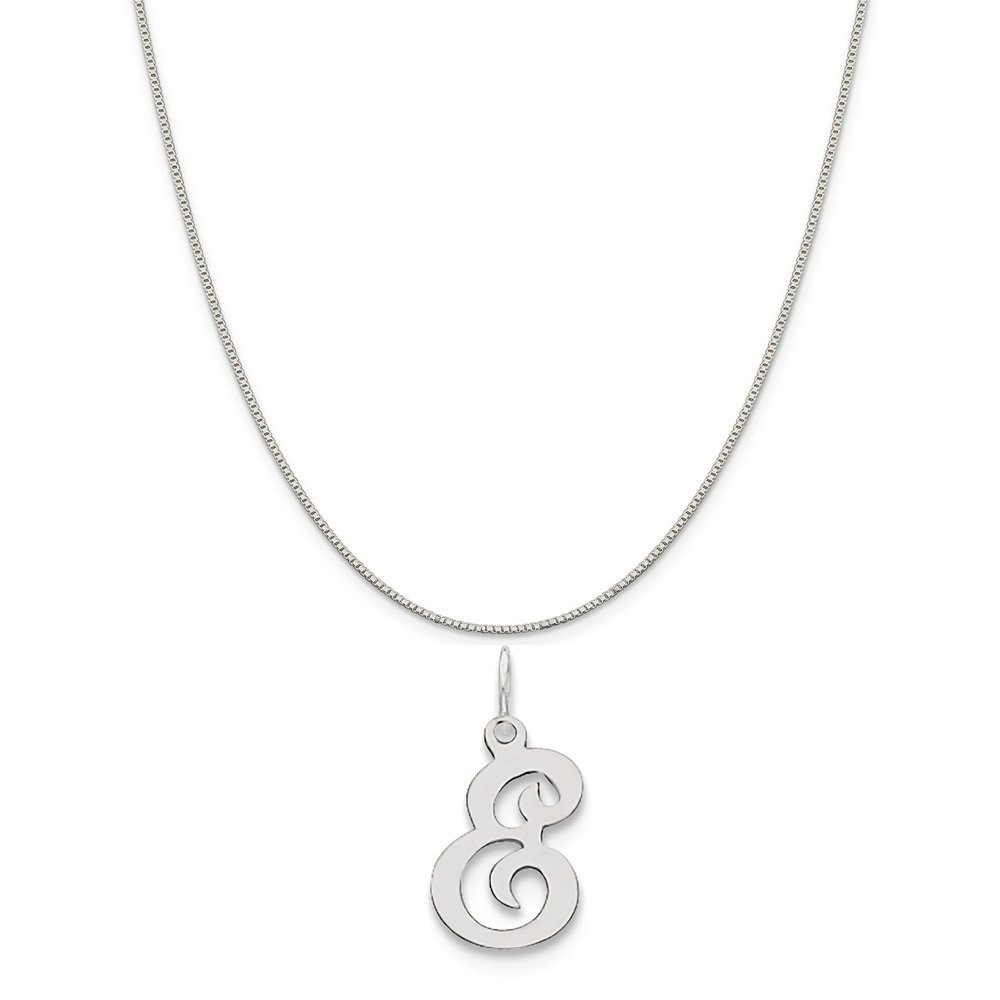 Mireval Sterling Silver Stamped Initial E Charm on a Sterling Silver Carded Box Chain Necklace 18