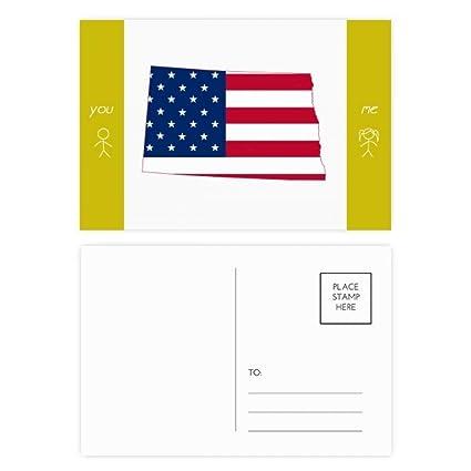 Amazon.com : North Dakota USA Map Stars Stripes Flag Shape Friend ...