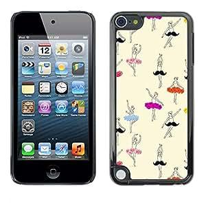 Bailarín de ballet de la bailarina Dibujo Arte - Metal de aluminio y de plástico duro Caja del teléfono - Negro - Apple iPod Touch 5