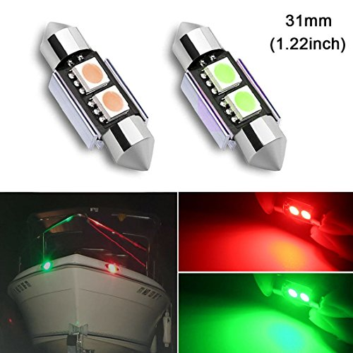 31mm(1.22inch) Red and Green Marine Festoon LED Bulb Replacement for Starboard Light Port Light Navigation Light Bow Light for Fishing Pontoon Boat Sailboart Yacht Kayak Vessel DC12V(Pack of 2)