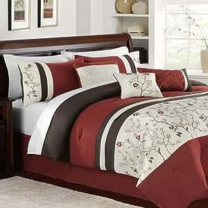Hallmart Collectibles Bella Donna 7 Piece Queen Embroidered Comforter Set