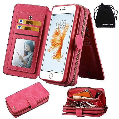 DRUnKQUEEn iPhone 6s Case, iPhone 6 Case, Premium Zipper Wallet Leather Detachable Magnetic Case Purse Clutch Removable Case with Pink Flip Credit Card Holder Cover for iPhone6 iPhone6s (4.7