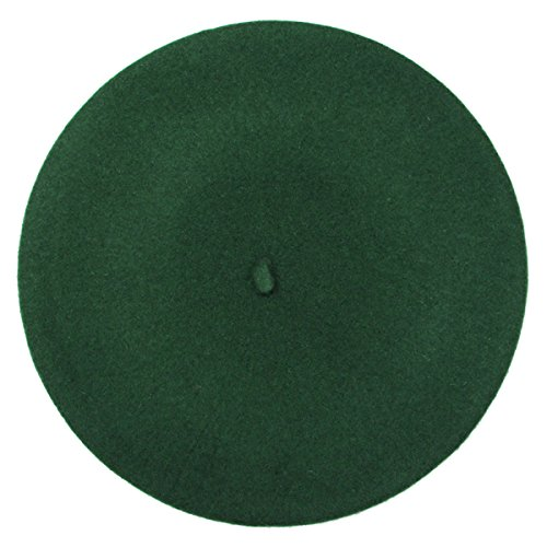 French Beret-100% Wool Solid Color Womens Beanie Cap Hat By ICSTH (One size, Green)