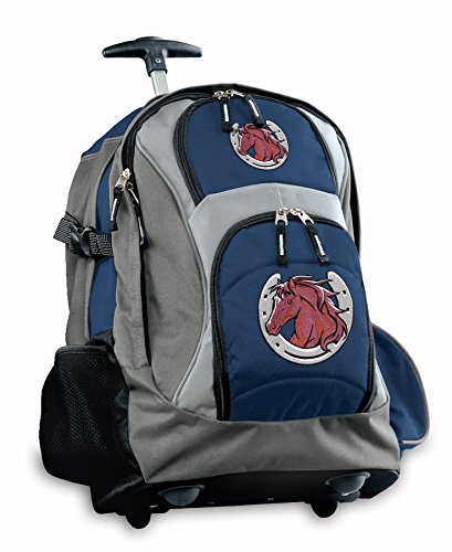 Horse Theme Rolling Backpack Deluxe Navy Horse design Backpacks Bags with Wheel by Broad Bay