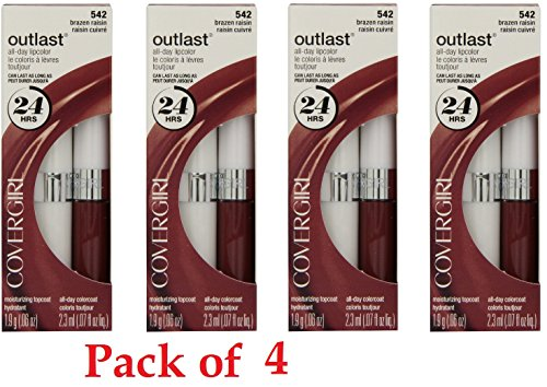 Covergirl Outlast Lipcolor, 542 Brazen Raisin (4 Pack)