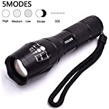 LED Tactical Flashlight, Juslink 900 Lumens CREE XML T6 Tactical Flashlight, Outdoor Handheld Zoomable Flashlight with 5 Light Modes , Ultra Bright, Adjustable Focus, Water Resistant, LED Flashlight