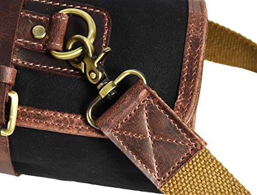 Leather Knife Roll Storage Bag | Elastic and Expandable 10 Pockets | Adjustable/Detachable Shoulder Strap | Travel-Friendly Chef Knife Case Roll By Aaron Leather (Raven, Canvas) by AARON LEATHER GOODS VENDIMIA ESTILO (Image #5)