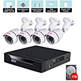 Tonton 8CH Full HD 1080P Security Camera System, Surveillance DVR with 1TB Hard Drive and (4) 2.0MP 1920TVL Waterproof Outdoor Indoor CCTV Bullet Camera with Face Detection and Perimeter Protection