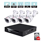 Cheap Tonton 8CH Full HD 1080P Security Camera System, Surveillance DVR with 1TB Hard Drive and (4) 2.0MP 1920TVL Waterproof Outdoor Indoor CCTV Bullet Camera with Face Detection and Perimeter Protection