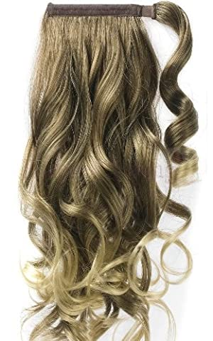 Forever Young 20 Clip In Ponytail Hair Extension Piece Wrap On Hair Wavy Style Sandy & Golden Blonde Mix 18T256# by Forever Young