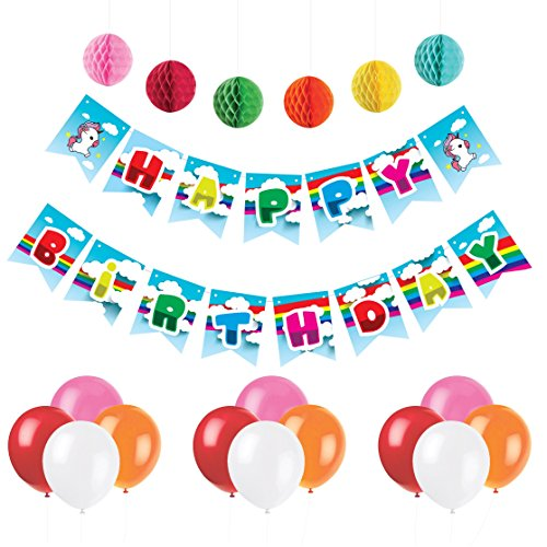 Unicorn Happy Birthday Banner - Premium Party Supplies Magical Rainbow & Clouds Pennant - Party Decorations Set with 6 Pom Pom Balls and 12 Balloons - Premium Quality, Ideal for Unicorn Parties (Stars Birthday Banner Personalized)