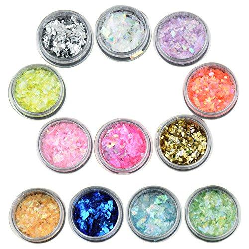 UPC 702534280896, Beauties Factory 12 x Shiny Ice Mylar Sheets Irregular Shape UV Gel Acrylic Nail Art Glitter