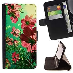 For Samsung Galaxy A3 Case , Rosa - la tarjeta de Crédito Slots PU Funda de cuero Monedero caso cubierta de piel