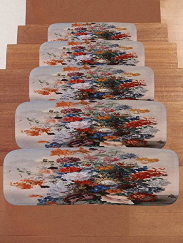 YGUII Wood with Red Flower Stair Treads Non-slip Carpet, Rectangle Stair Rugs Pads, Indoor Outdoor Beach Mats for Staircase, Set of 5 by YGUII (Image #3)