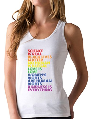 Science is Real Black Lives Matter Love is Love Equality Racerback Tank Top Small White