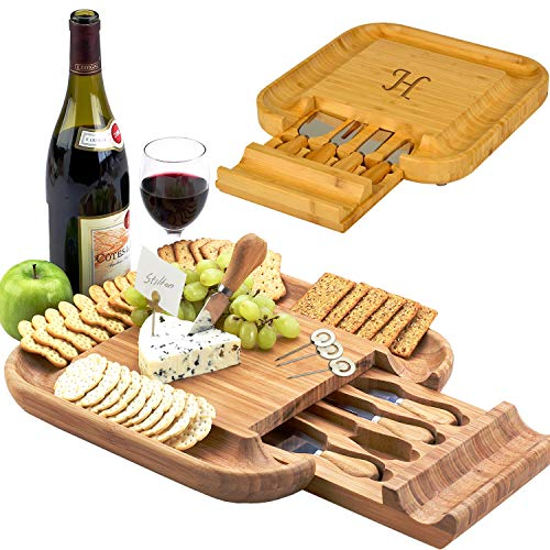Picnic at Ascot Original Personalized Bamboo Cheese/Charcuterie Board with Cheese Knife Set & Cheese Markers- Designed & Quality Checked in USA