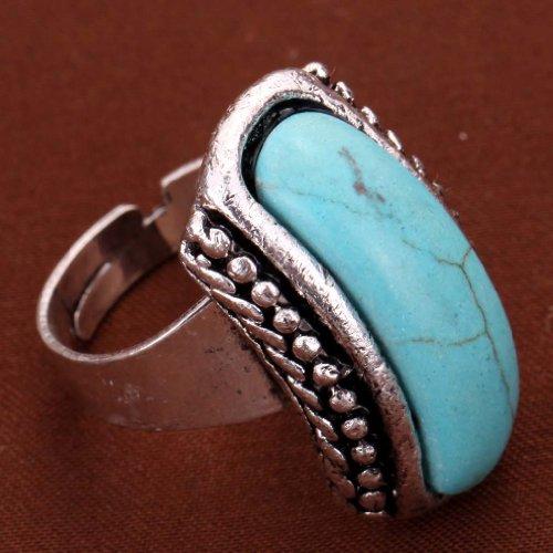 Turquesa-Yazilind-Rimous-plata-tibetana-llamativo-anillo-ajustable-simplicidad-alargado