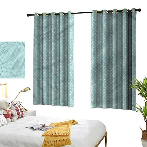 """G Idle Sky Polyester Curtain Modern Decor Curtains by Elliptic Shapes Dots Flowers 55"""" xL63"""