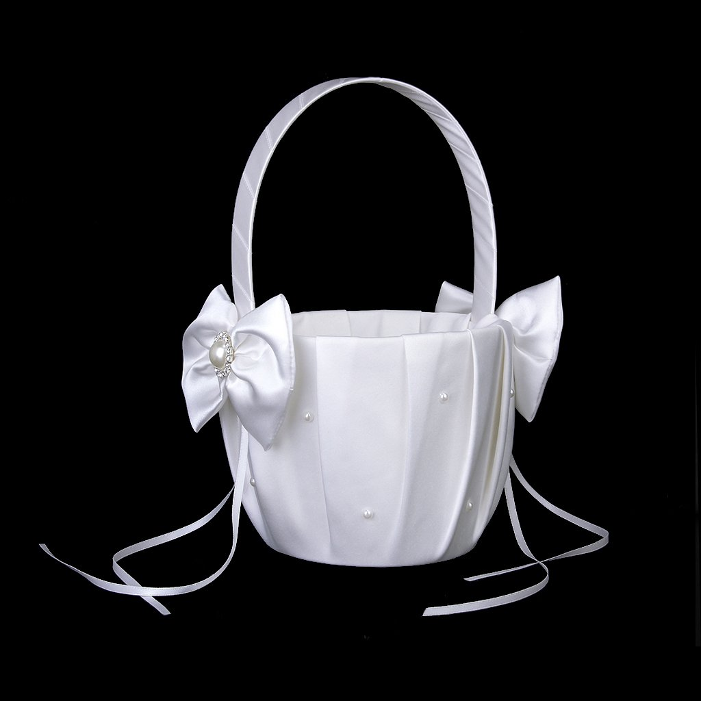 1 X Wedding Flower Girl Basket Satin Bowknot Faux Pearl Rhinestone