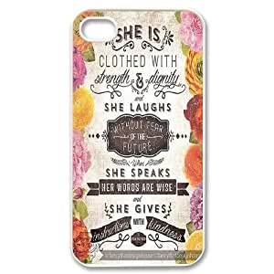 Custom She is clothed with strength Iphone 4,4S Case, She is clothed with strength Personalized Case for iPhone 4, iPhone 4s at Lzzcase