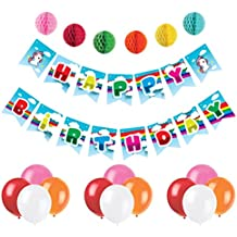 Unicorn Happy Birthday Banner - Premium Party Supplies Magical Rainbow & Clouds Pennant - Party Decorations Set with 6 Pom Pom Balls and 12 Balloons - Premium Quality, Ideal for Unicorn Parties
