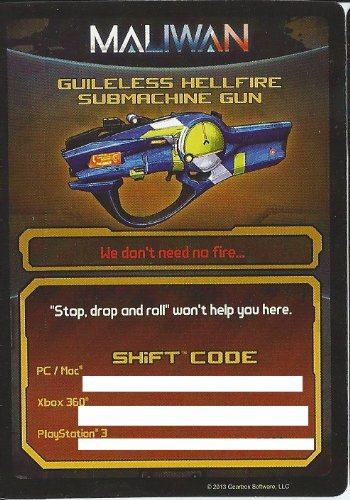 Borderlands 2 Guileless Hellfire Submachine Gun DLC CARD SHIFT CODES PACK  [NO GAME] FOR XBOX 360, PS3, & PC/MAC
