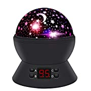 #LightningDeal ANTEQI Night Lights for Kids,Star Projector with Timer and 360 Degree Rotating for Boys,Girls Bedroom, Christrmas Gift (Black)