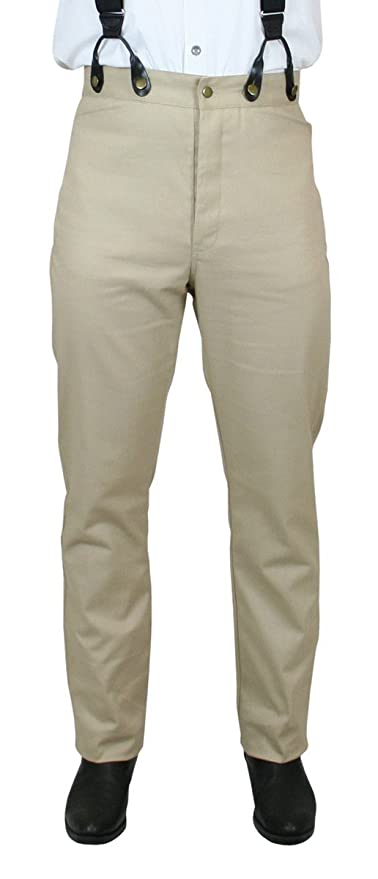 Edwardian Men's Pants  High Waist Cotton Twill Trousers $54.95 AT vintagedancer.com