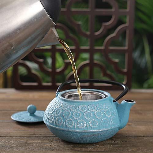 Japanese Cast Iron Teapot 34 oz, Tea Kettle with Infuser for Loose Leaf Tea,Lake Blue