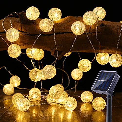 BrizLabs Globe Solar String Lights, 22.73ft 50 LED Crackle Ball Solar Lights Outdoor, 8 Modes Waterproof Fairy Lights with Memory, Warm White Indoor Decorative Lights for Patio, Wedding, Garden, Party (Solar Globe String Lights)