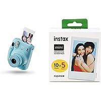 Instax Mini 11 - Cámara instantánea, Sky Blue + Fujifilm Instax Mini película, Pack of 5 x 10 Hojas (50 Hojas)