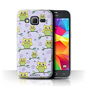 STUFF4 Phone Case / Cover for Samsung Galaxy Core Prime / Yellow/Purple Design / Cute Owl Pattern Collection