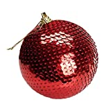 Iulove Christmas Sequin Glitter Baubles Balls Xmas Tree Ornament Decoration 8CM (Red)
