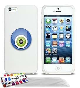Carcasa flexible Ultrafina Blanca Original de MUZZANO estampada Nazar boncuk para APPLE IPHONE 5S + 3 películas de protección UltraClear para la pantalla