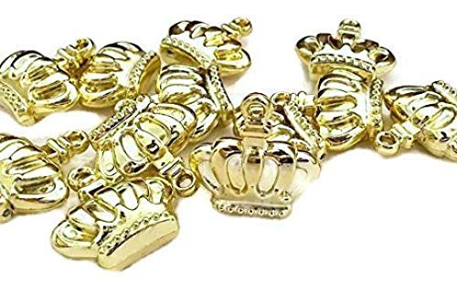 Gold Prince Princess Crown Charms Embellishment Party Favor DIY Projects Scrapbooking Accessories 24 Pack -