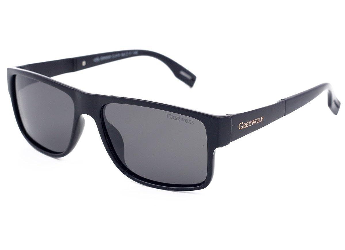 4e46726aeb Grey Wolf Italian Style Polarised Sunglasses for Men Women Ladies Driving  Fishing Sport Light Grey Anti Glare Lenses Black Plastic Frame   Amazon.co.uk  ...