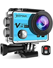 JEEMAK Action Camera 4K WiFi 20MP UHD Waterproof Camera 40M Underwater Camera with Anti-shaking,2 Rechargeable Batteries and Mounting Accessory Kits