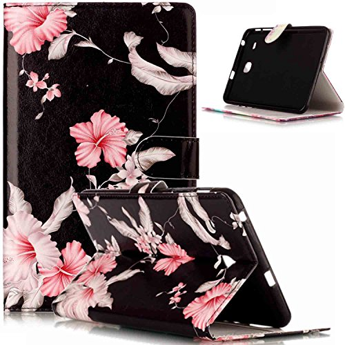(Galaxy Tab E 8.0 Case,ikasus Painted Marble PU Leather Fold Wallet Pouch Case Wallet Flip Cover Card Slots Stand Protective Case Cover for Galaxy Tab E 8.0 Inch T375 T377,Black Pink Flower)