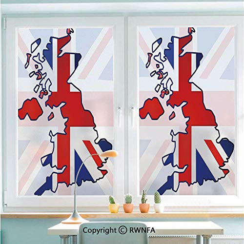 Window Door Sticker Glass Film,Faded United Kingdom Flag and Country Map Composition Nations Symbols Anti UV Heat Control Privacy Kitchen Curtains for Glass,22.8 x 35.4 inch,Violet Blue Red White