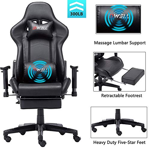EDWELL Ergonomic Gaming Chair with Headrest and Lumbar Massage Support Racing Style PC Computer Chair Height Adjustable Swivel with Retractable Footrest Executive Office Chair Black