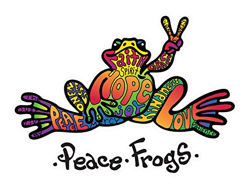 Hope Peace Frogs Car Sticker, Outdoor Rated Vinyl Sticker Decal for Windows, Bumpers, Laptops or Crafts (Sun Vinyl Window Decal Bumper)