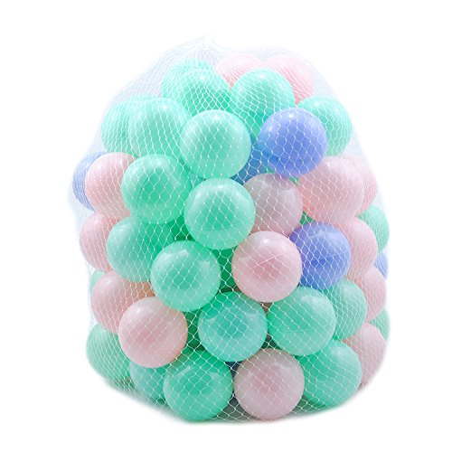 Pit Balls Crush Proof Plastic Children's Toy Balls Macaron Ocean Balls 2. 15 Inch Pack of 100 Random Color by Thenese