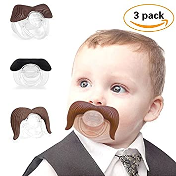 3Pcs Mustache Pacifier for Baby, Gentleman Mustache Lip Pacifier Cute Novelty Baby Stuff for Newborn Infant, BPA Free Latex Free Made with Soft Silicone … (Coffee& Black) Zhovee