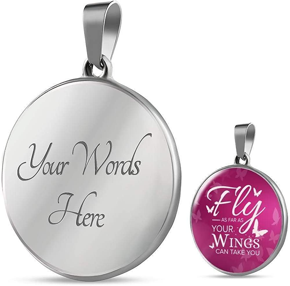 Express Your Love Gifts Fly Inspirational Gift Circle Pendant Necklace Engraved 18k Gold 18-22