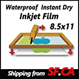 """8.5""""x11"""",50 sheets,Premium Waterproof Inkjet Instant Dry Silk Screen Printing Transparency Film,great for EPSON,HP,CANON Printers"""